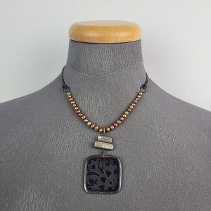 Silpada 925 Bronze Pearl Pen Shell Necklace